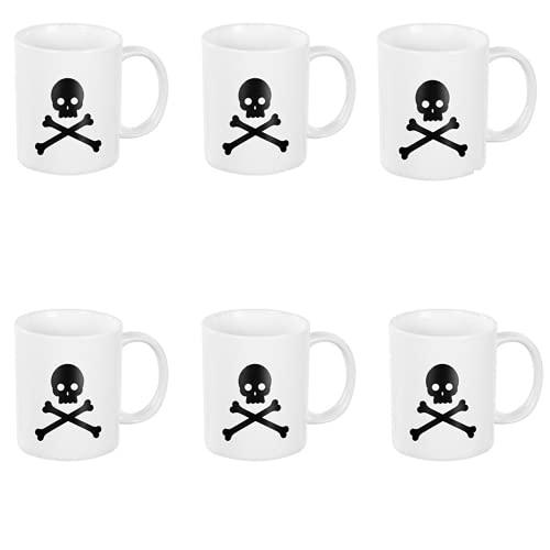 BricoLoco. Lote de 6 tazas en color blanco con el dibujo de una calavera. Tazas originales y graciosa para el desayuno. Tazas infantiles para niño y niña.