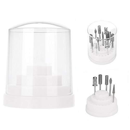 48 Holes Nail Drill Holder Professional Nail Art Plastic Drill Stand for Nail Art Drill Bit Organizer Box Holder(White)