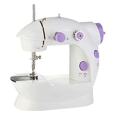 DERCLIVE Portable Sewing Machine Adjustable 2-Speed Crafting Sewing Machine with Foot Pedal Bobbins for Beginners Household,UK Plug