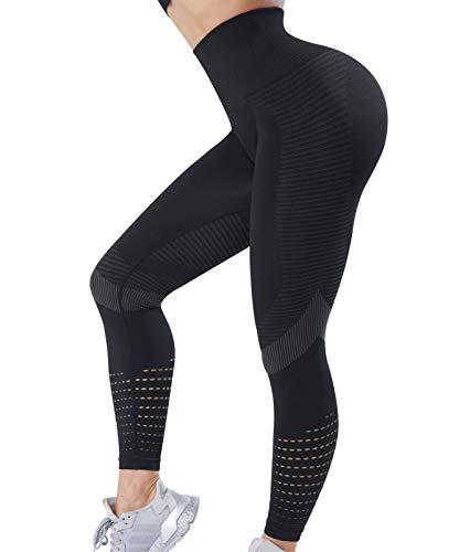 OUTUOSI Leggings da ginnastica da donna senza cuciture, con vestibilità alta, per yoga, allenamento, corsa, allenamento, sport, push up Nero S