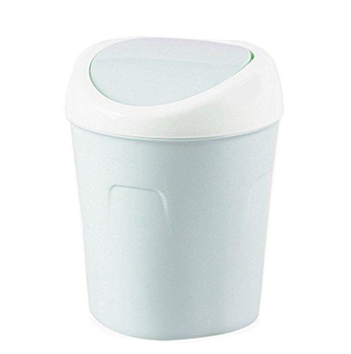 ZHOUWHJJ Countertop Plastic Swing Lid Table Desk Car Mini Trash Can Trash Bin, 1.5 L / 0.40 Gal, 3 Color Options, Blue