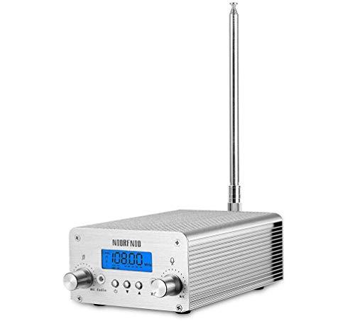 1W / 6W PLL FM Transmitter Radio Stereo Station Wireless Broadcast+TNC Antenna for Drive-in Church Supermarket School (grey2)