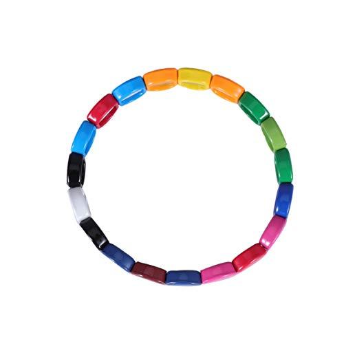 EXCEART 1PC Emaille Armbänder Stretch Armreif Fliesen Stapelbar Colorblock Honeycomb Perlen Elastische Armband Farbe Sortiert
