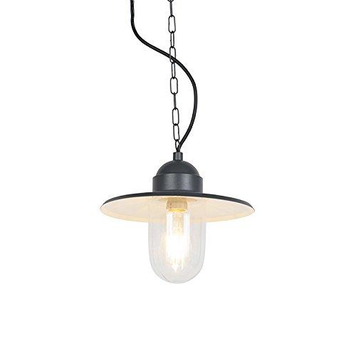 QAZQA Industrie/Industrial Outdoor ländliche Hängelampe anthrazit IP44 - Kansas Graphit/Außenbeleuchtung Glas/Metall Rund LED geeignet E27 Max. 1 x 60 Watt