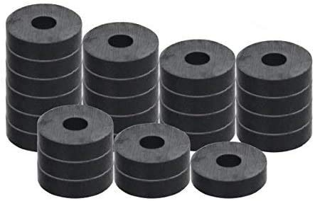 """RAM-PRO 100-Piece Powerful Magnetic Round Ferrite Magnet Discs with ¼"""" Dia. Holes (3/4"""" x 1/4"""") – Universal Use on Frigidaire's, Bulletin Boards & Arts-Crafts Projects, Etc."""