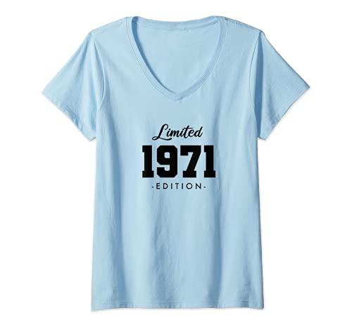 Mujer Retro 50 Años Nacido en 1971 Edición Limitada 50 Cumpleaños Camiseta Cuello V