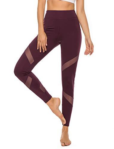 SEASUM Women's Mesh Insert Workout Leggings Stretchy Skinny Sheer Yoga Tights Activewear S