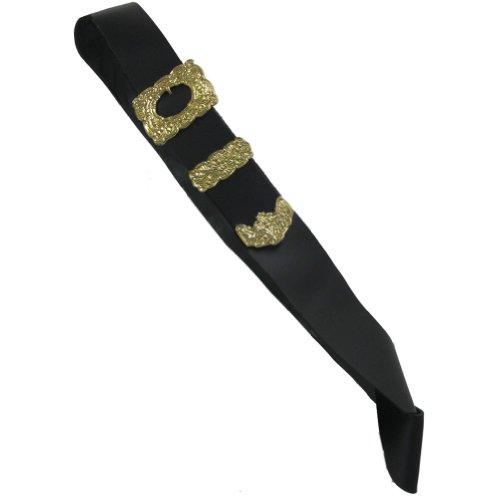 Tartanista - Baudrier de kilt pour cornemuseur/piper - homme - boucle argentée/dorée - noir/boucle dorée - Taille unique