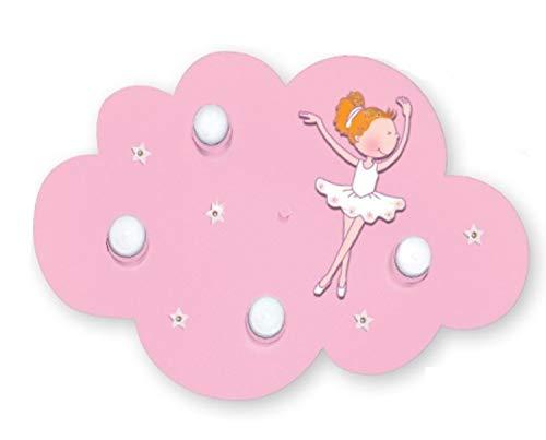 LED Deckenleuchte Wolke Ballerina rosa für 4x LED Lampe max 40 Watt