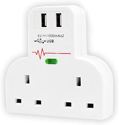 TPPHD Adaptador de Puerto USB para Escritorio, hogar y Oficina con Protector contra sobretensiones, sobre protección de Corriente, Adaptador de protección de Cortocircuito