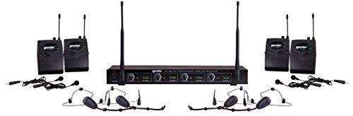Gemini UHF Series UHF-04HL-S1234 - Sistema de audio profesional DJJ-Equipo, 4 canales, inalámbrico, UHF y auriculares/lavalier inalámbrico con alcance de funcionamiento de 150 pies