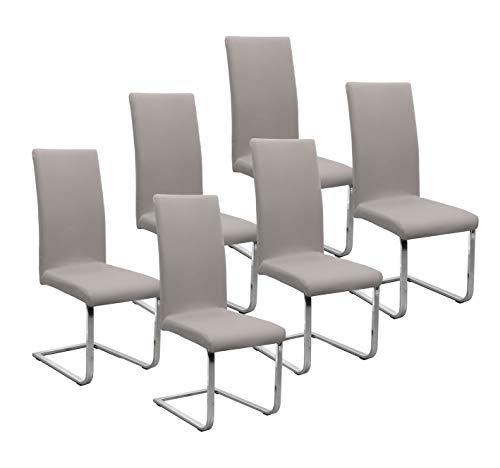 BEAUTEX Jersey Stuhlhussen Sets, elastische Stretch Husse Baumwolle Bi-Elastic, Farbe wählbar (Stein 6er Set)