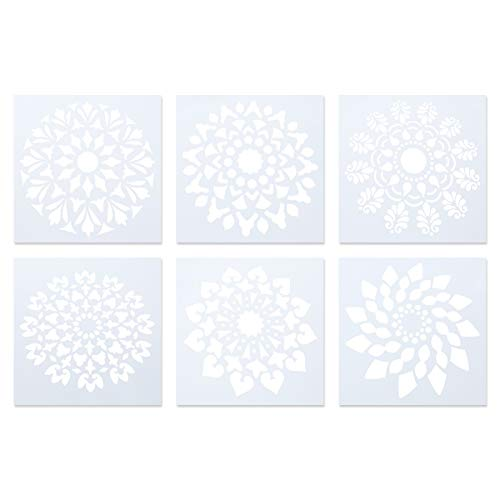 SUPVOX Mandala Painting Drawing Pad Reutilizable Hollow out Stencils Set para principiantes Style D 6PCS