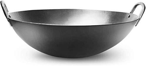 Knoijijuo Wok Ca. 40 cm Durchmesser Runder Boden Für Gas, Induktionsherd,Gastronomie, Wokpfanne,50cm,43cm