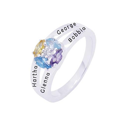 Personalización del anillo con nombre personalizado 4 anillos de piedra natal Anillo de plata esterlina 925 Navidad para abuela(Plata 21.75)