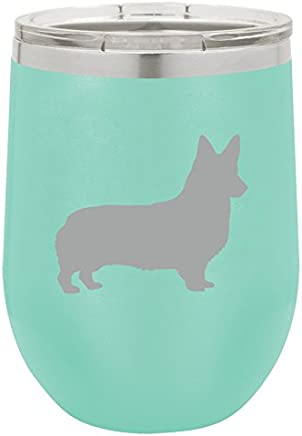 12 oz Double Wall Vacuum Insulated Stainless Steel Stemless Wine Tumbler Glass Coffee Travel Mug With Lid Corgi (Teal)