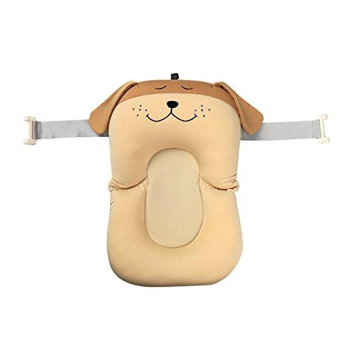 belupai Alfombrilla de baño para bebé recién nacido, plegable, para bañera, asiento de bañera y asiento de bebé(Cachorro Marrón Con 2 Cinturones Fijos)