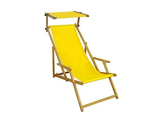Gartenliege gelb Strandliege Sonnenliege Holz Relaxliege Sonnendach Deckchair Strandstuhl 10-302NS