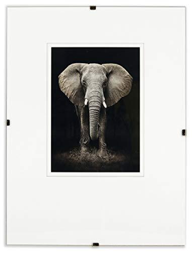 Postergaleria Bilderrahmen Rahmenlos | 61x91cm | Klar Plexiglas | mit Clips | Bildhalter für Fotos Poster | Plakatrahmen | viele Größen | gut für Wohnzimmer, Esszimmer, Küche
