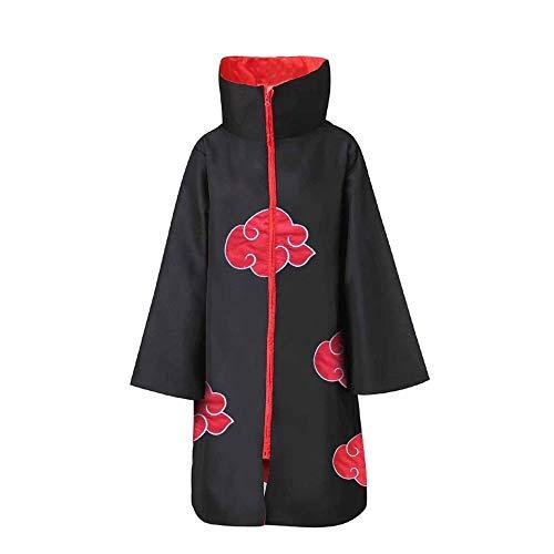 XCJLW Unisex Long Robe Naruto Akatsuki Cloak Cosplay Halloween Costume with Headband (Large) Black