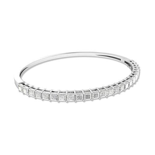 2,75 Karat Princess Cut Weiß Topas Armband, SGL-zertifizierter Edelstein Armreif, Damen Partywear Versprechen Armband, Statement Hochzeit Gold Armband, 14K Weißes Gold