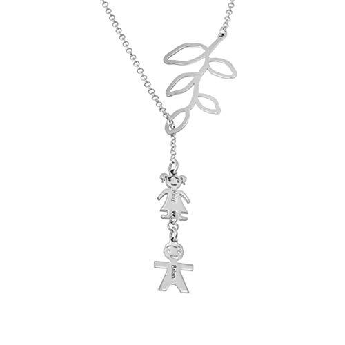 Collar de nombre personalizado Collar de mujer Collar familiar Rama de hoja y colgante de niños Collar de promesa grabado(Plata 20)