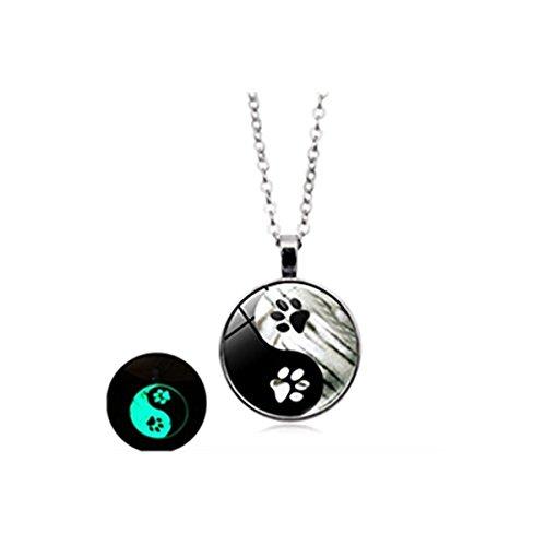 Collar luminoso de huella de perro negro y blanco Yin y Yang cristal cabujón colgante joyería...