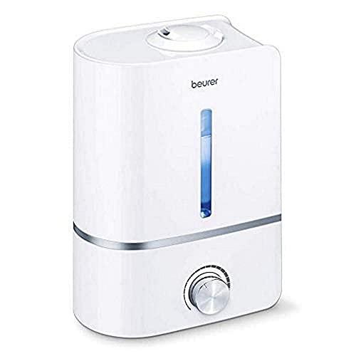 Beurer LB45 - Humidificador de aire con 2 boquillas de nebulización, ultrasónico, silencioso, máxima nebulización 300 ml/h, pastillas aromáticas, filtro antical, 25 W, color blanco