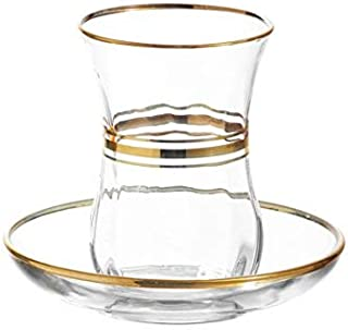 LAV Elegant Turkish Tea Glasses and Saucers   With Gold Rim and Accents, 4 Ounce Cups with 4 Inch Plates, 12 Piece Set Includes 6 Glasses and 6 Saucers, Made in Turkey