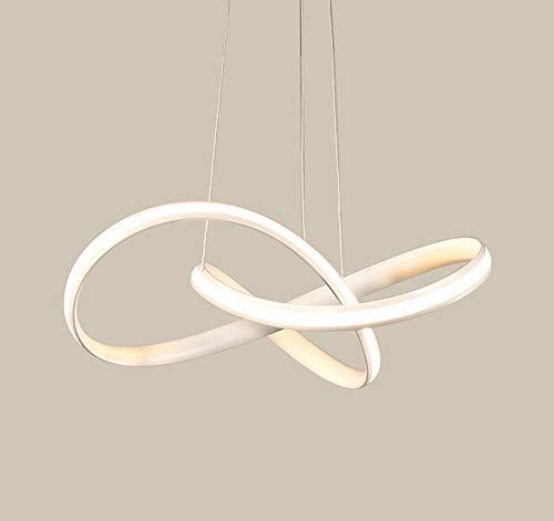 LED Moderno Regulable Colgante De Luz Altura Ajustable Sencillo Fluctuación Lineal Blanco Aluminio Gel De Sílice Para Sala De Estar Dormitorio Estudio Comedor Galería De Arte Pasillo