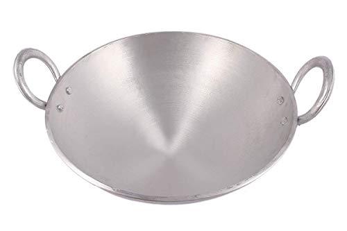 KITCHEN SHOPEE Aluminium Kadai/Frying Pan for Cooking, Aluminium Fry Kadhai/Pan for Kitchen, 20 cm 8 INCH