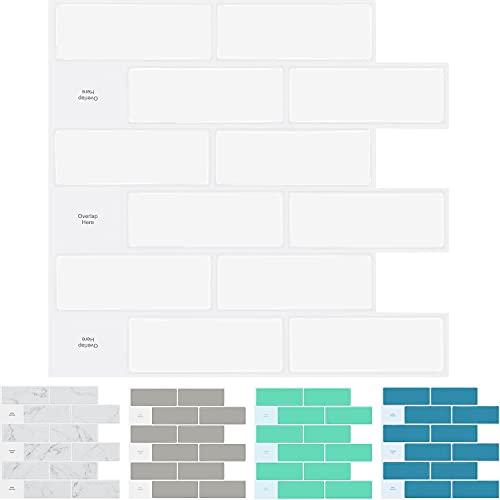 STICKGOO 10-Sheet Peel and Stick Subway Tile Backsplash, 13'x 12' White Kitchen Backsplash Peel and Stick Tiles