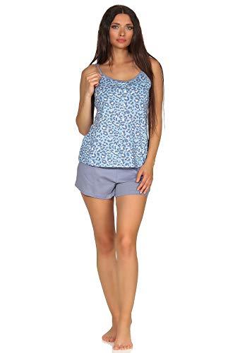 Ärmelloser Damen Spaghetti Träger Shorty Pyjama mit Leoparden Muster - auch in Übergrössen, Farbe:blau, Größe2:48/50