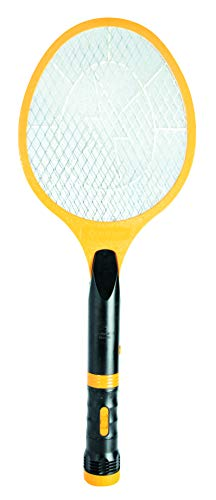 Beastron Bug Zapper Electric Fly 3000V USB Rechargeable, Mosquito Racquet Killer Racket with LED Light & 2 Layer Mesh (Large Size), yellow