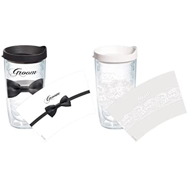 Tervis 1097149 Lace Bride and Groom Bowtie Tumbler with Wrap and Assorted Lid 2 Pack 16oz, Clear
