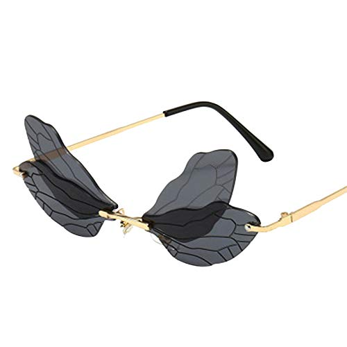 Julhold Polarisierte Sonnenbrille Leichte Brillemode Schmetterling Sonnenbrille Damen Stilvolle Und Einzigartige Randlose Brille Überziehbrille Neuheit Brillen Dekorative Gläser(C1)