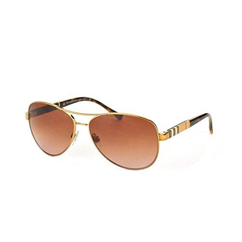 Burberry Unisex BE3080 Sonnenbrille, Gold (Gestell: hellgold, Gläser: braun-verlauf 114513), Large (Herstellergröße: 59)