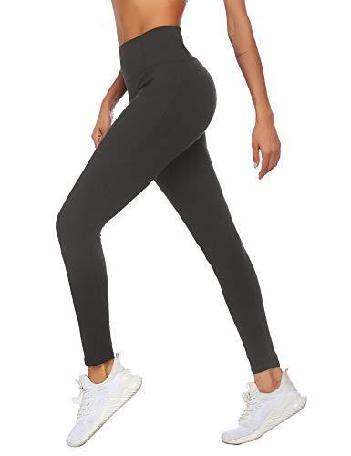 Ekouaer Leggings for Women Workout Yoga Pants Naked Feeling High Waist Leggings Non-See Through Pocketd Tights Deep Taupe