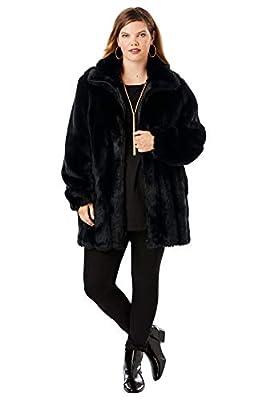 Roamans Women's Plus Size Short Faux-Fur Coat - 1X, Black from Roamans