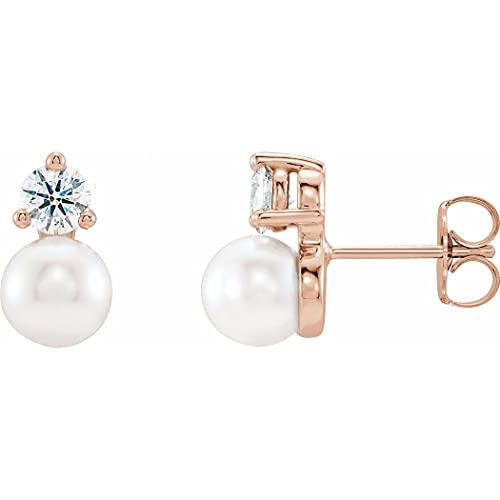 Pendientes de oro rosa de 14 quilates 6.0 6.5 mm pulido perlas de agua dulce y diamantes de 0.5 quilates para mujer