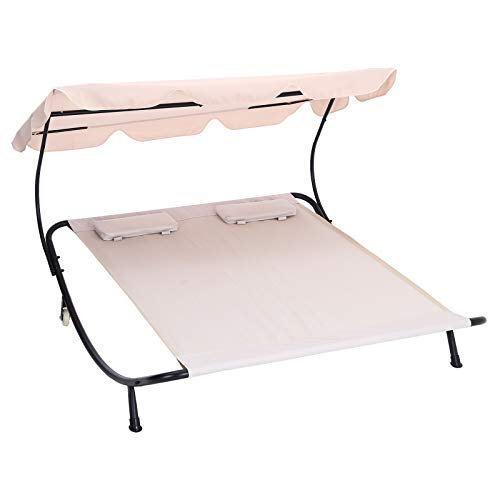The Fellie Double Outdoor Garden Bed Sun Lounger Modern Recliner Daybed with Pillow, Beige