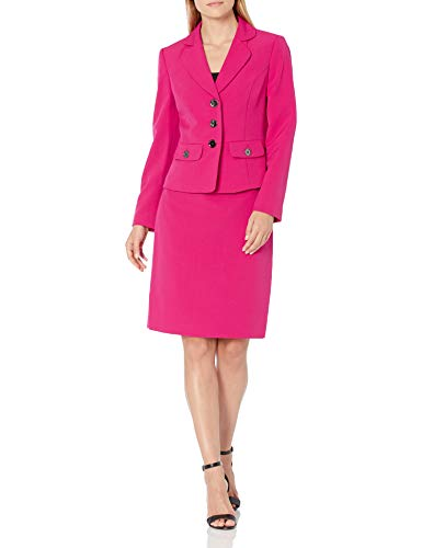 Le Suit Women's 3 Button Notch Collar Stretch Crepe FIT & Flare Skirt Suit with Pockets, Magenta, 12
