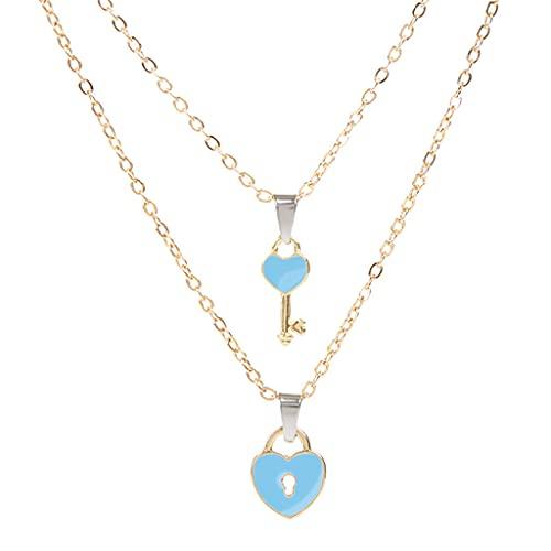 oshhni 2 Piezas de Collares con Colgante de Pareja, Cadena de Clavícula en Forma de Corazón Romántico para Mujeres, Hombres, Vacaciones, Aniversario, Trabajo - Azul