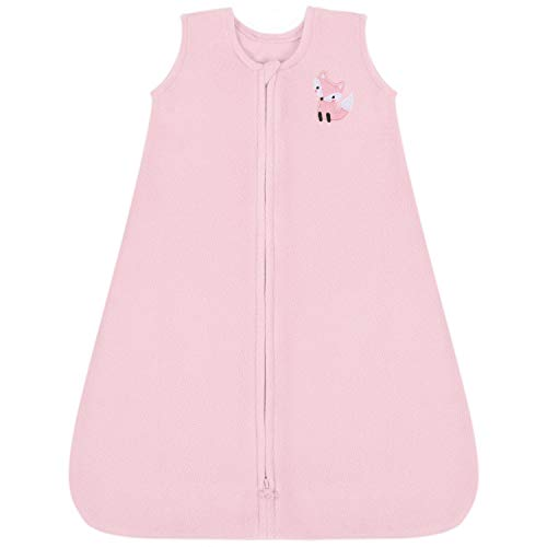 TILLYOU All Season Micro-Fleece Baby Sleep Bag and Sack with Inverted Zipper, Fits Infants Babies Ages 12-18 Months, Sleeveless Warm Soft Wearable Blanket TOG 1, Large L, Pink Fox