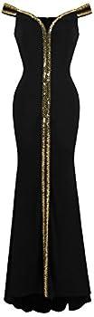 Angel-fashions Women s Off Shoulder V Neck Floor Length Black Formal Gown XXLarge