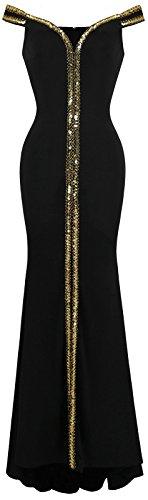 Angel-fashions Damen Aus der Schulter V-Ausschnitt Bodenl?nge Schwarz Formales Kleid Medium