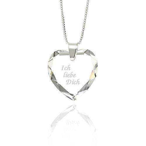 Damen Halskette 925 Silber SWAROVSKI ELEMENTS Herz Anhänger Crystal personalisierte Gravur - Ich liebe Dich- für den Lieblingsmensch Geschenk für die Frau oder Freundin