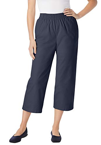 Woman Within Women's Plus Size Elastic-Waist Chino Capri Pants - 12 W, Navy Blue
