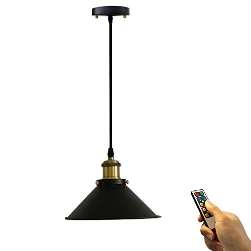 ANYE 1-Light 100 Lumens Led Remote Control Battery Run Indoor Not Hardwired Black Pendant Light for Aisle Bedroom-Easy Installation, Dimmable Control,Battery Not Included