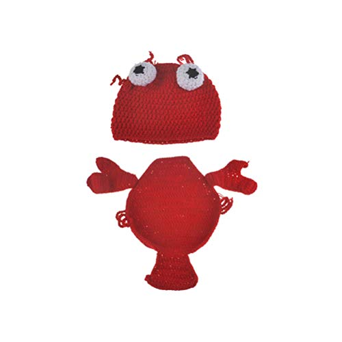 YeahiBaby Baby Fotografie Kostüm mit Hummer Hut Strickmütze Fotografie Requisiten Kleidung Säugling Neugeborene Fotografie Prop